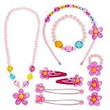 Hifot Bijoux Enfants Petites Filles Collier Bracelet Bague Boucles d'oreilles Clip Pinces à Cheveux Set, Bijoux de Fantaisie Cadeaux de fête Cadeau pour Jeu d'habillage