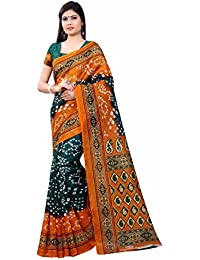New Collection Fancy And Regular Casual Wear Women Bhagalpuri Silky Orange Color Bandhani Printed Saree In Low...