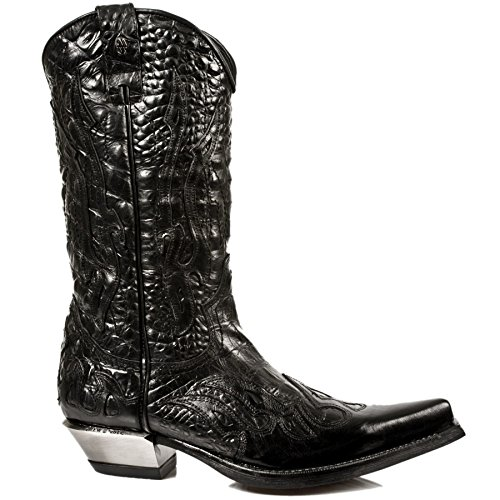 Smart Range New Rock M.7921-S1 Bottes en Cuir de Botte Noire de Diable de Flamme de Diable