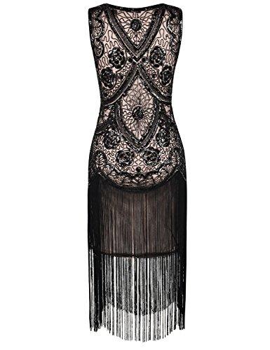 Kayamiya Damen 1920er Inspiriert Cocktail Flapper Gatsby Kleid Mit Perlen Floral Art Deco Schwarz Beige