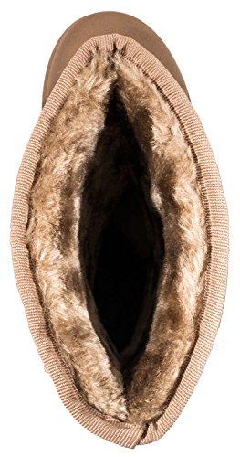 Elara Damen Boots   Bequeme Winter Stiefeletten   Warm Gefüttert Profilsohle Wildlederoptik Khaki Flair