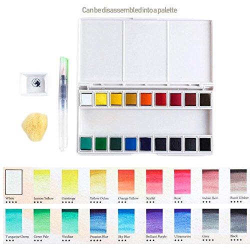 KOBWA Wasserfarbe Set-18sortierte Aquarelle-Travel Aquarell Set enthält Wasser Bürste, Palette und Schwamm-Für Handwerk Oder Hobby bis Zum professionellen 18 Colors