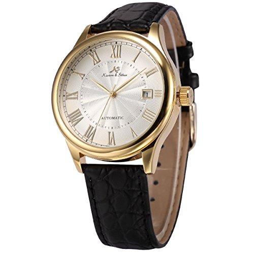 KS KS241 - Reloj para hombres, correa de cuero color negro