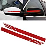 #3: KREEPO Car Rearview Mirror Strip Sticker Vinyl Racing Decal Emblem (Red) For Toyota Innova Crysta