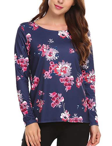 Beyove Damen Langarmshirt Oberteile Tops T-Shirts Basic Pullover O-Ausschnitt Blumenmuster Floral Freizeit Casual Stretch Sweatshirt Herbst Winter Frühling