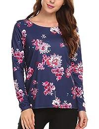 51b1dc4fa0b6 Beyove Damen Langarmshirt Oberteile Tops T-Shirts Basic Pullover  O-Ausschnitt Blumenmuster Floral Freizeit