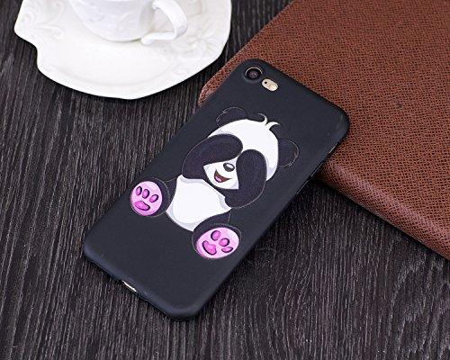 iPhone 7 Custodia, Cover iPhone 7, JAWSEU iPhone 7 4.7 Protectiva Bumper Bella Ultra Sottile 3D Sollievo Modello Silicone Custodia Cover Protezione Antiurto Liscio Flessibile Gomma Gel TPU Morbida Sil Panda Carina