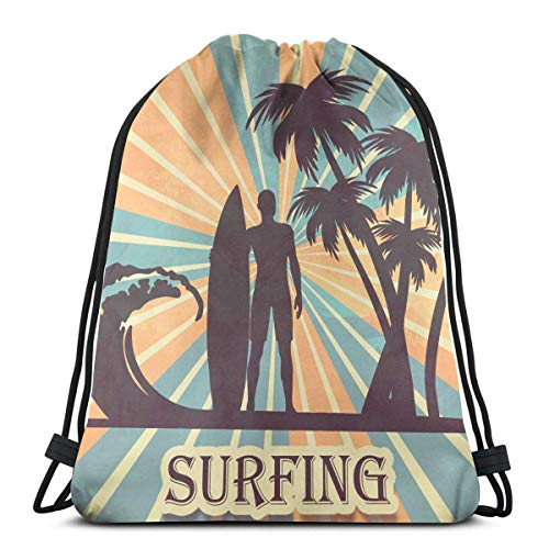 Etryrt Prämie Turnbeutel/Sportbeutel, Tropical Surfing with Palm Trees Drawstring Backpack Bag Shoulder Bags Gym Bag for Adult -