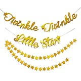 Blau Panda Star Garland Dekorationen – 2er Pack gold Sterne Banner Baby Dusche, Arztausstattung, Kids Birthday Party Dekorationen mit Twinkle Twinkle Little Star Buchstaben, gold, 3 m wahr