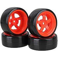 Neumáticos lisos de deriva de plástico negro de 65 mm con llantas rojas de 5 rayos de plástico para RC 1: 10 en paquete de 4 carros de carreras