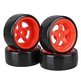 BQLZR 65 mm Aussendurchmesser aus schwarzem Kunststoff Drift Glatte Reifen mit rotem Kunststoff 5-Speichen-Felgen fuer RC 1: 10 On Road Racing Car Pack 4