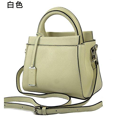 Mefly Damen Handtaschen aus Leder neu und europäische Produkte Farbe litschi Leder Einzel Schulter Obliquer Querschnitt Fashion white