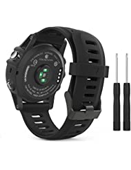 MoKo Garmin Fenix 3 / Fenix 5x Sport Watch Armband - Silikon Sportarmband Uhr Band Strap Ersatzarmband Uhrenarmband mit Werkzeug für Garmin Fenix 3 / Fenix 3 HR GPS Smart Watch, Schwarz