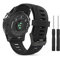 MoKo Garmin Fenix 3 Accesorios, Banda Reemplazo de Silicona Suave Deportiva con Herramientas para Garmin Fenix 3 / Fenix 3 HR Smart Watch - Negro