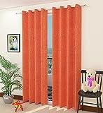 #7: Jute Curtains - Fresh from Loom 2 Piece Eyelet Jute Door Curtain - 7ft, Orange