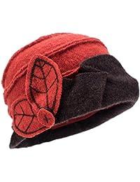 Dos tono Womens Ladies Retro 1920s Gatsby estilo 100% lana cubo Cloche  Beanies sombreros de a2b4e11e3eb