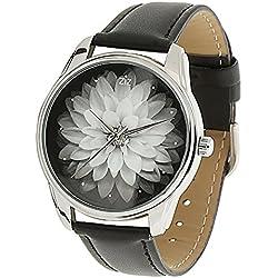 Damen-Armbanduhr Zifferblatt schwarz Ziz Accessories-Blume schwarz