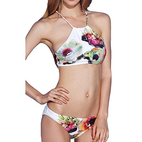 DELEY Donne Ragazze Retrò Floreale Stampa Elegante Sexy Bikini Triangolo Vacanza Mare Costumi Da Bagno Costume Da Bagno Swimwear Bianco