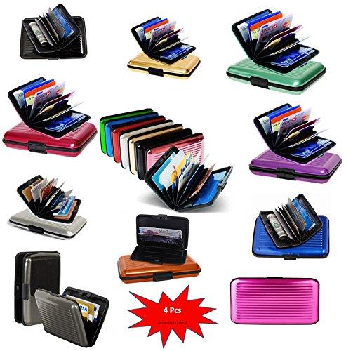 Ishita Aluminium Card Holder - Aluma Security Wallet - Random Color - 4 Pieces  available at amazon for Rs.499
