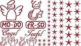 Autoaufkleber Sticker Aufkleber Set für Auto Schriftzug Engel Mo-Do Fr-So Teufe (031 rot)