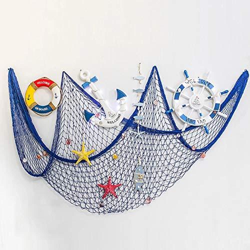 IRKZ Dekorative Fischnetz Nautische Strand Angeln Netting Mediterranen Stil Party Wandbehang Dekor Für Schlafsaal Schlafzimmer Bar,A