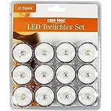 LED Teelicht Leuchte Taucher einfarbig Lampe Stimmungslicht Hochzeit Party Lounge wasserdicht Ø 3,0 cm (Blütenform 12er Set Gelb)