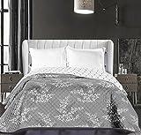 DecoKing 86575 Tagesdecke 220 x 240 cm weiß graphit grau stahl anthrazit Bettüberwurf zweiseitig pflegeleicht Blumen Blumenmuster Blumenmotiv white grey dimgray steel Hypnosis Collection Calluna