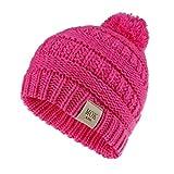 TTLOVE Unisex Mädchen Jungen Kind Schön Hut Warm Winter Strickmütze Wolle Haarball Ski Mütze,11 Farben(Pink)