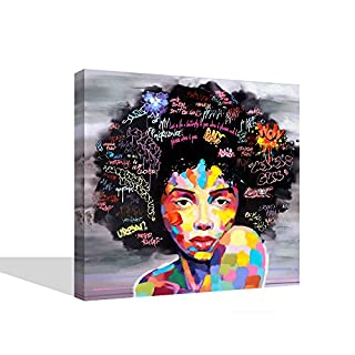 VIIVEI Colorful Wall Art Abstract New Graffiti Street Modern African Women Female Portrait Canvas Painting On Prints For Living Room Wooden Framed