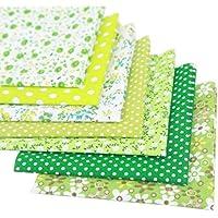 Souarts 7PCS Mixtes Textile Tissu Coton Motif Fleur pour Diy Patchwork Artisanat Couture Vert 50cmx50cm