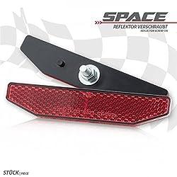 Universal Motorrad Rückstrahler Space rot 19 mm x 98 mm mit Gewindebolzen M5