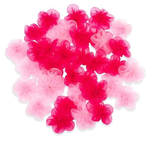 ück Chiffon-Blumen-Verzierungen, 3,8 cm Chiffon-Stoffblumen zum Basteln, DIY Hochzeitsdekorationen, Ornamente, Hellrosa und Hot Pink ()