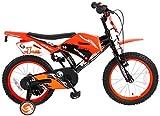 .Volare Vélo Enfants Garçon 16 Pouces Motobike Freins sur Le Guidon Roues de Stabilisation Orange...