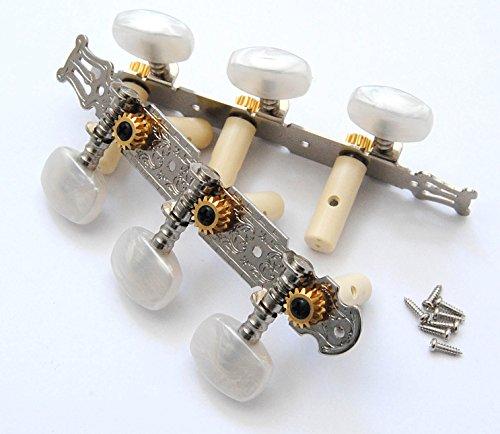 Set Marken Mechanik für 4/4 Akustik Konzertgitarre Klassikgitarre vernickelt mit Verzierung