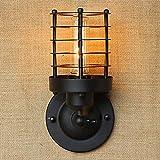 Luce LED In Ferro Battuto Rame Retro Filo Cilindrico Surround Paese/Capanna/Paese Lampada Da Parete In Metallo Lampada Da Parete Lampade Di Illuminazione 40W Di fascia alta (Colore : Black)