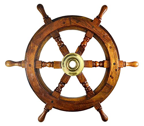 IOTC Schiff Rad Schiffe Lenkrad Boot Rad Piratenschiff Rad Captains Rad Maritimes Dekor Holz Schiff Rad (45,7cm Dia) -