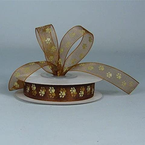 Sheer Chocolate Organza Ribbon with Toffee Paw Prints 5/8 X 25 Yds Spool by RaeBella Weddings & Events New York