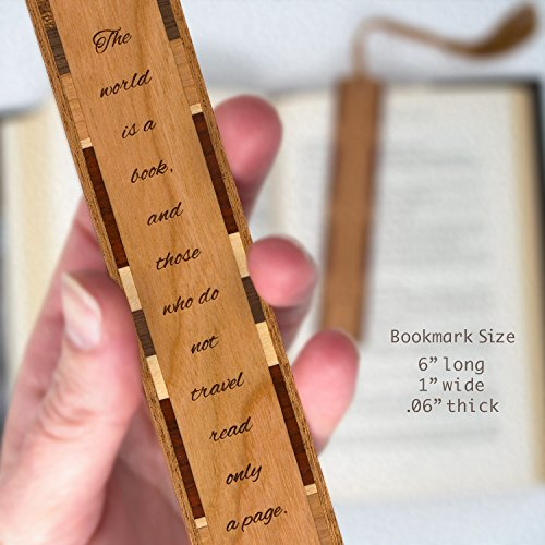 Saint Augustine Quote About Travel Being Like a Book Engraved Wooden Bookmark with Tassel