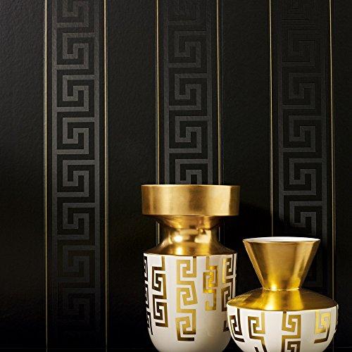 Rigato Versace 3-93524-4 Schwarz und Gold von einer außergewöhnlichen Eleganz. Vinyl in seidenmatter Optik
