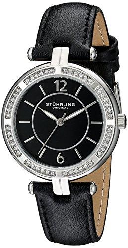 Original Vogue Stuhrling para mujer reloj infantil de cuarzo con esfera analógica y negro correa de piel 550,02