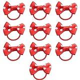 Westeng 10 Stück Haarband Weiße Punkte Bowknot Kleines Gummiband Elastische Haarschmuck für Frauen Mädchen Kinder - Rot