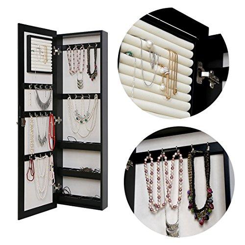 HLC Klassische Wandmontage Schmuckschrank Schminkschrank Schmuck Spiegelschrank Schmuckkasten mit Wandspiegel aus Holz - 5