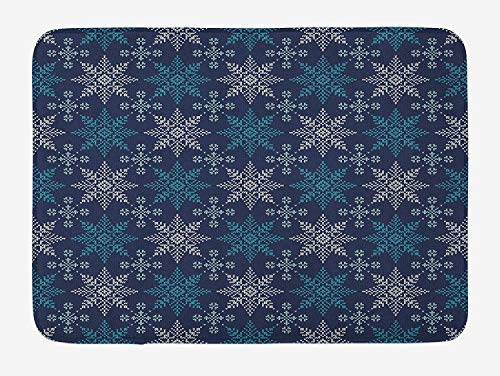 Icndpshorts Snowflake Bath Mat, Winter Holiday Theme Eight Pointed Star Christmas Pattern, Plush Bathroom Decor Mat with Non Slip Backing, 23.6 x 15.7 Inches, Pale Sea Green Dark Blue Pale Blue Combo Winter Liner