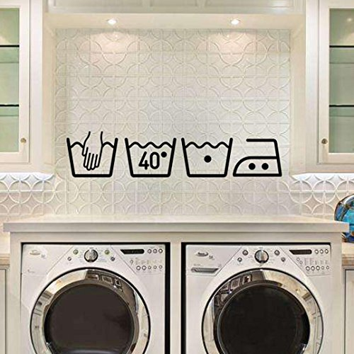 Cinnamou Etiqueta engomada pared signo lavadora Art