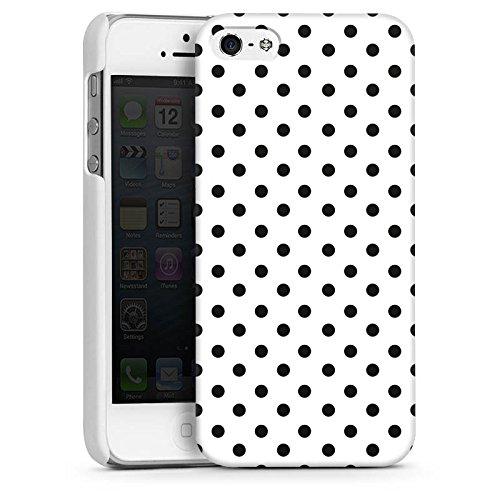 Apple iPhone 6 Housse Étui Silicone Coque Protection Polka points Noir et blanc Motif CasDur blanc