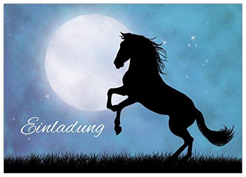 """10 Pferde Einladungskarten \""""PFERD IM MONDLICHT\"""" zum Kindergeburtstag für Mädchen"""