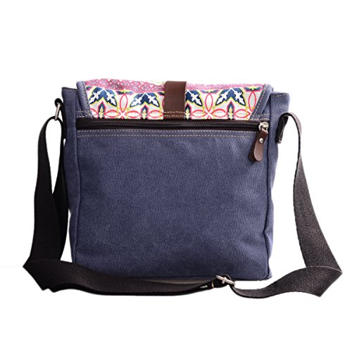 Douguyan Donna Ragazza Borse Retro Messaggero Tela Borsa Cartella Borse a Tracolla Spalla Borsa Messenger Floreale Viaggio Canvas Shopper Shoulder Tote Crossbody Bag E00156 Beige Blu