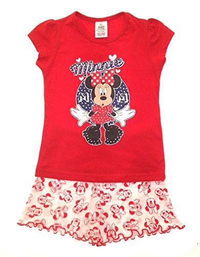 Kurzer Pyjama für Kinder, Mädchen Offizielles Disney Minnie Mouse Micky Mouse Clubhouse Design, Set, Größe: 1–4Jahre Gr. 110, Red Top, White Shorts with Minnie Faces -