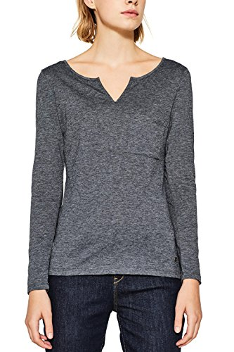 ESPRIT Damen Langarmshirt 087EE1K091, Schwarz (Black 001), Medium