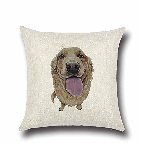 DingXinZM 1PCS Golden Retriever Bulldog Hund Muster Baumwolle Leinen Überwurf Kissenbezug, Auto Home Sofa Kissenbezug Bett Deko (Größe: 45* 45cm) A8 (Drucken Retriever)